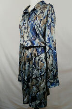 AVON Womens Plus Size Dress 2X 2T Blue Beige Python Print Stretch Belted Shift