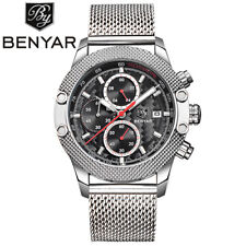 BENYAR 316L Mesh Stainless Steel Strap Men Pilot Quartz Wrist Watches Gift Box