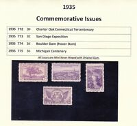 1935 Year Commemorative Full Set Mint Never Hinged w/Original Gum