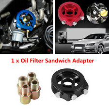 1/8 NPT Universal Aluminum Car Oil Filter Cooler Sandwich Plate Adapter Black