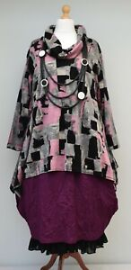 """PLUS SIZE ABSTRACT PRINT A-LINE TUNIC BLACK/GREY/PINK BUST UP TO 52"""" L-XL-XXL"""