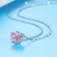 Korean Women White Gold Filled Pink Full Crystal Flower Cherry Blossom Necklace
