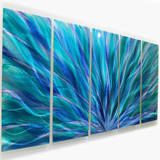 Aqua/Blue/Purple Metal Contemporary Metal Wall Art by Jon Allen - Blue Aurora