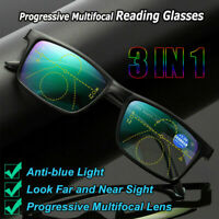 Unisex Multifocal Rimless Reading Glasses Lens Anti Blue Light Frameless Glasses