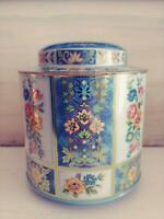 Vintage DAHER Made In England Gold Blue Yellow Floral Round Tin Canister