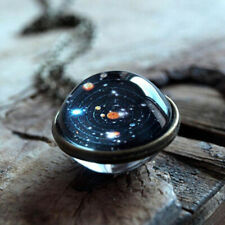 """Bronze Globe Double Sided Necklace Solar System Planet Galaxy Pendant 19.68""""Long"""