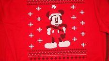 UFFICIALE Mickey Mouse, Natale Felpa, spessa Top Rosso, XXL NUOVO