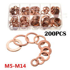 200pc Solid Copper Washer M5-M14 Flat Ring Sump Plug Oil Seal Assorted Set w/Box
