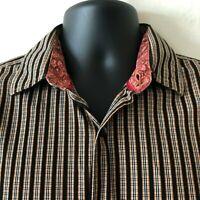 Jerry J. Garcia Striped Shirt Long Sleeve Flip Cuffs Men's Medium M Repair