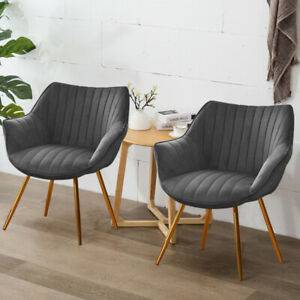 2X Nordic Velvet Dining Chairs Side Armchair Living Room Cafe Chair Golden Legs