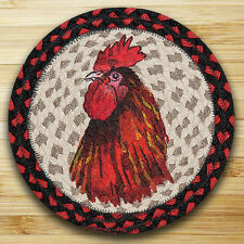 "RED ROOSTER 100% Natural Jute Swatch, 10"" Trivet/Placemat, by Earth Rugs"