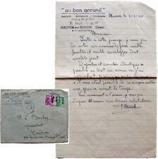 Courrier enveloppe 1949 Mercerie Au Bon Accueil Mauves-sur-Huisne Hunault