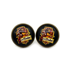 harry potter Gryffindor Crest glass cabochon  Earrings bronze tone