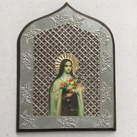 VTG HANDMADE Virgin Mary Icon Wall Hanging W/Flowers Hand Carved Pewter Wood