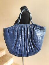 NANCY GONZALEZ Blue Crocodile Tote Shoulder Bag Handbag