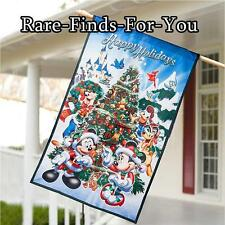 Disney Parks Santa Mickey Minnie Mouse Friends Christmas Holiday Flag Sign (NEW)
