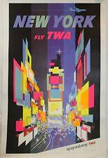 Vintage David Klein TWA Times Square Poster 1960's, Original