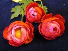 "Vintage Millinery Flower Ranunculus 1.5"" Red + Pink 3pc Lot for Hat + Hair Y170"