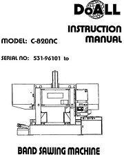 DoAll Band Saw Operators Manual Model No. C-820NC