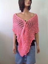 Hand Kniited Shawl Scarf Stole Wrap Peach Sring Summer Designer Fashion Lace Hip