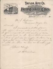 MADISON IN 1895 Taylor Hitz Steam Bakery Bread Cracker Cake Illustr Letterhead