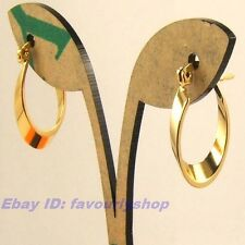 """0.86"""" 3g SMOOTH OVAL 18K YELLOW GOLD PLATED HOOP EARRINGS SOLID FILL GP 1128e"""