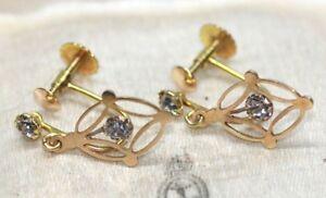 Pretty Art Deco 9 ct yellow gold crystal dangle screw back earrings
