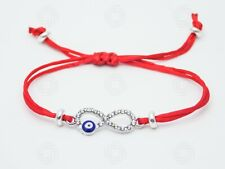 Silver Bracelet Rope Red Hamsa Handmade Charm Blue Evil Eye Protection Gift UK