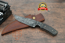 Damascus Steel Skinner knife Hand forged knives Leather and sheep Horn handle