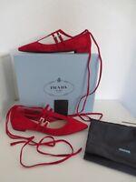 PRADA Damen Ballerinas Gr. 39 CHERRY Rot Leder Schuhe Ballerina neu