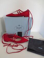 PRADA Damen Ballerinas Gr. 39,5 CHERRY Rot Leder Schuhe Ballerina neu