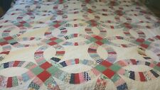 "VINTAGE DOUBLE WEDDING RING HANDMADE SCULPTED EDGE PATCHWORK QUILT 72"" X 88"""
