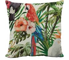 Parrots Tropical Jungle Leaf Palm Flower Parrot Cushion Cover UK Next Day