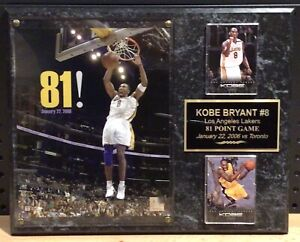 Kobe Bryant 81 Point Game Collectible Plaque w/ 2 Panini Collectible Cards