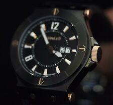 New Mens Renato Wilde Beast 45MM Black Gold Dial Swiss Sport Luxury Watch