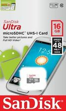 SanDisk 16GB microSD Ultra 48MB/s UHS-I C10 16G Micro SD SDHC for Smartphones