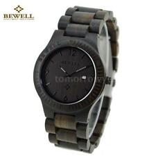 Wood Strap Round Wristwatches with 12-Hour Dial