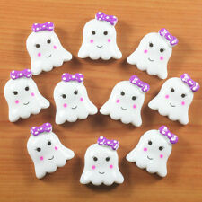 Lot 10 pcs Halloween Cute Ghost w/ Purple Bow Resin Flatback Hair Bow Crafts DIY