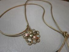 "Milor Italy 14K Gold Flower Pendant on Necklace Signed 1 1/2"" CUTE!!!"