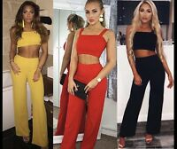 Womens 2 Piece Set Trousers Evening Party Stretchy High Waist Palazoo Flares Top
