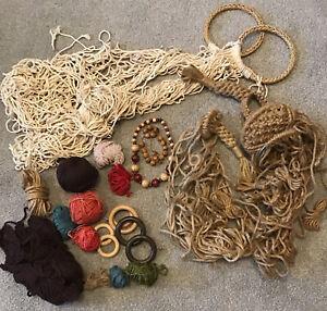 Large Bundle Macrame Materials Yarn Cord Beads Hoops String Perfect Starter Kit
