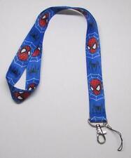 Blue SPIDERMAN LANYARD KEY CHAIN Ring Keychain ID Holder NEW