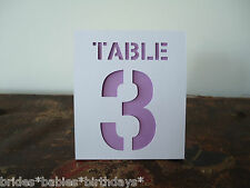 Kraft White Lilac Table Numbers 1 to 10 Tent Style Wedding Birthday Party Decor