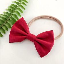 Newborn, baby, girl, red christmas bow headbands xmas nude nylon cotton handmade