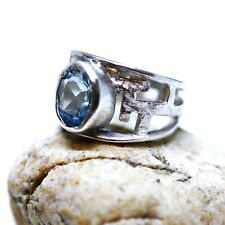Natural Oval Sky Blue Topaz Ring Solid Sterling Silver 4th Anniversary December