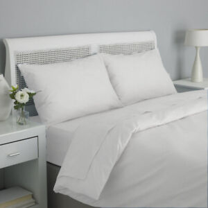 WHITE HOTEL QUALITY BEDDING DUVET COVER AND FITTED , FLAT SHEET ALL UK SIZES