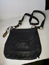 FOSSIL Black Leather Brass Long Live Vintage Crossbody Shoulder Bag Organizer