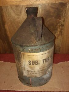 Vintage Metal Oil Cans Labelled SuB. Turps Cork Stopper Aberdeen Interest