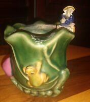 "Vintage Ceramic figurine Mudman Frog Planter Green Magellica? Rare 4.5""h 3""w"