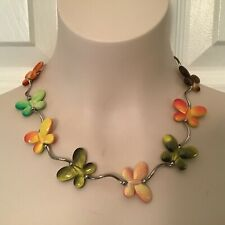 Boho Hippie Butterfly Necklace Bright Gold Green Orange Brown Colorful